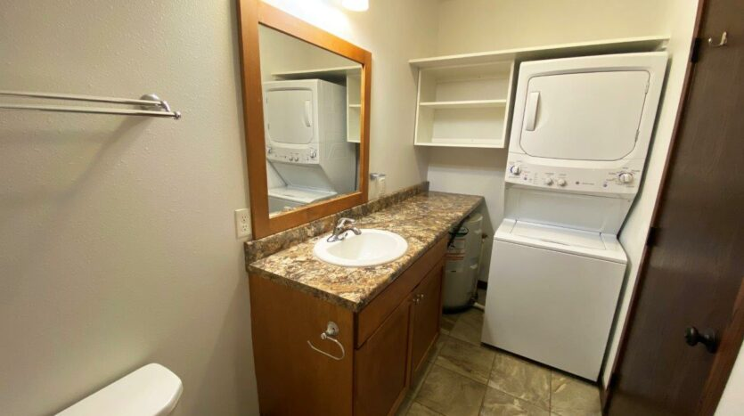 Downtown Lofts in Brookings, SD - Bathroom Vanity and Washer and Dryer