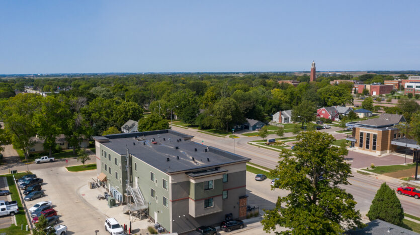 6th Street Centre Apartments in Brookings, SD - Building Exterior Drone2