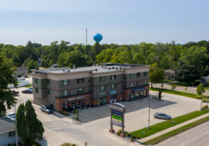 6th Street Centre Apartments in Brookings, SD - Building Exterior Drone1