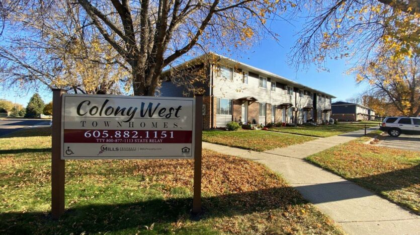 Colony West Townhomes in Watertown, SD - Exterior and Property Sign