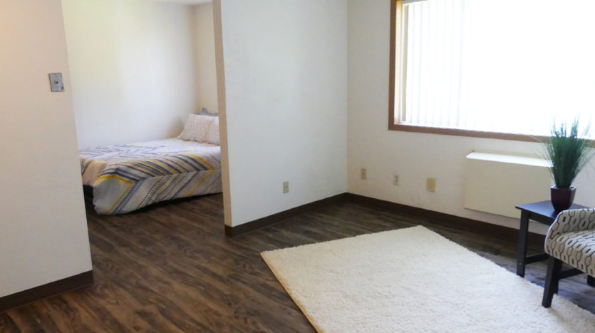 Lakeview Terrace Apartments in Chamberlain, SD - Living Room View to Bedroom
