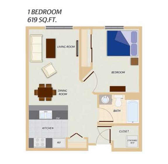 Phase I - 1 Bedroom Floor Plan