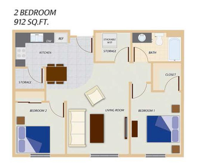 Phase I - 2 Bedroom Floor Plan