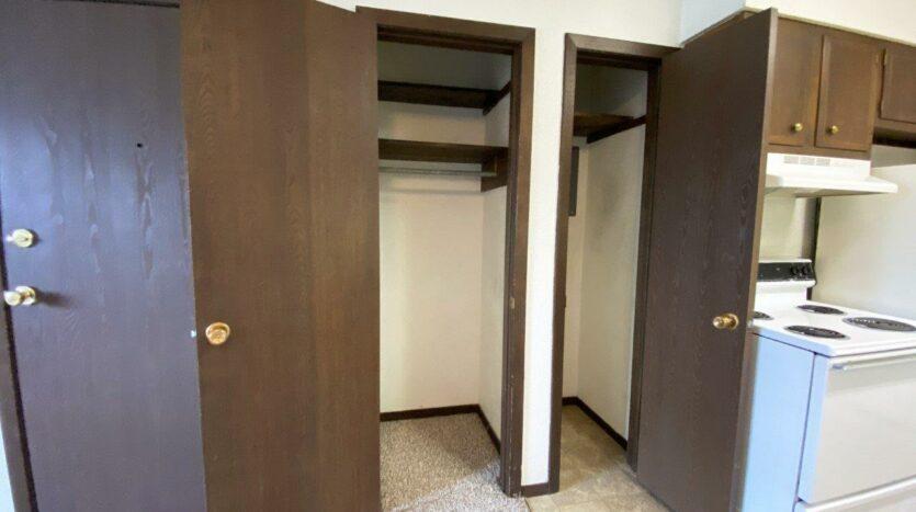 Dakota Village Apartments in Aurora, SD - Front Closet and Pantry