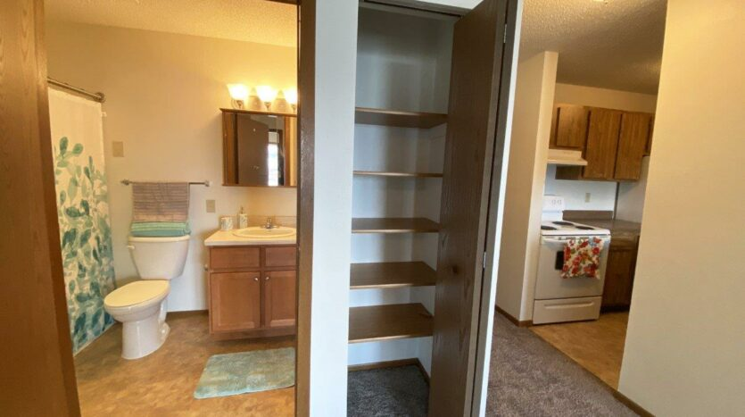 Pheasant Valley Courtyard Apartments in Milbank, SD - Linen Closet