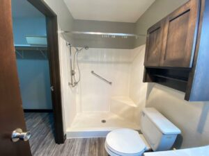 Arrowhead Apartments in Brookings, SD - Updated Apartment Bathroom Shower