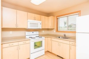 Campus Tech Apartments in Mitchell, SD - Stove and Microwave