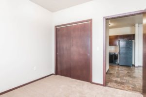 Edgerton Apartments in Mitchell, SD-2Bed 1Bath-Bedroom to Kitchen View
