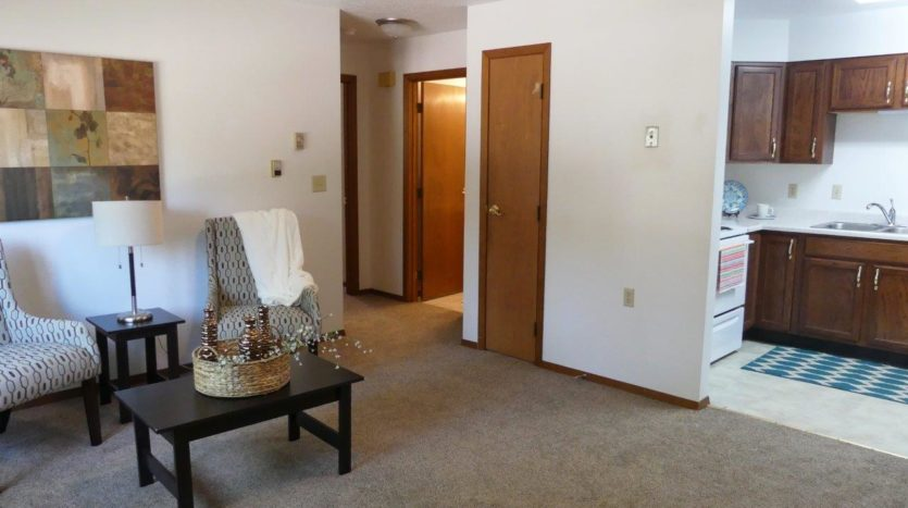 St Stephens Apartments in Bridgewater, SD - Living to Kitchen View