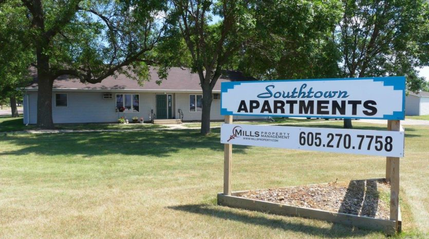 Southtown Apartments in Salem, SD - Exterior and Property Sign