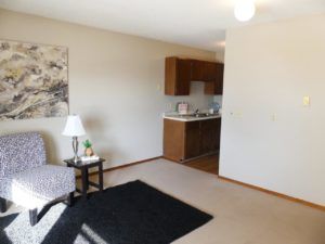 Hill Center Apartments in Salem, SD - Living Room/Kitchen (One Bedroom Apartment)