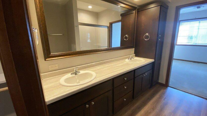 One Willow Creek Apartments in Watertown, SD - Willow Oak Master Bathroom Vanity