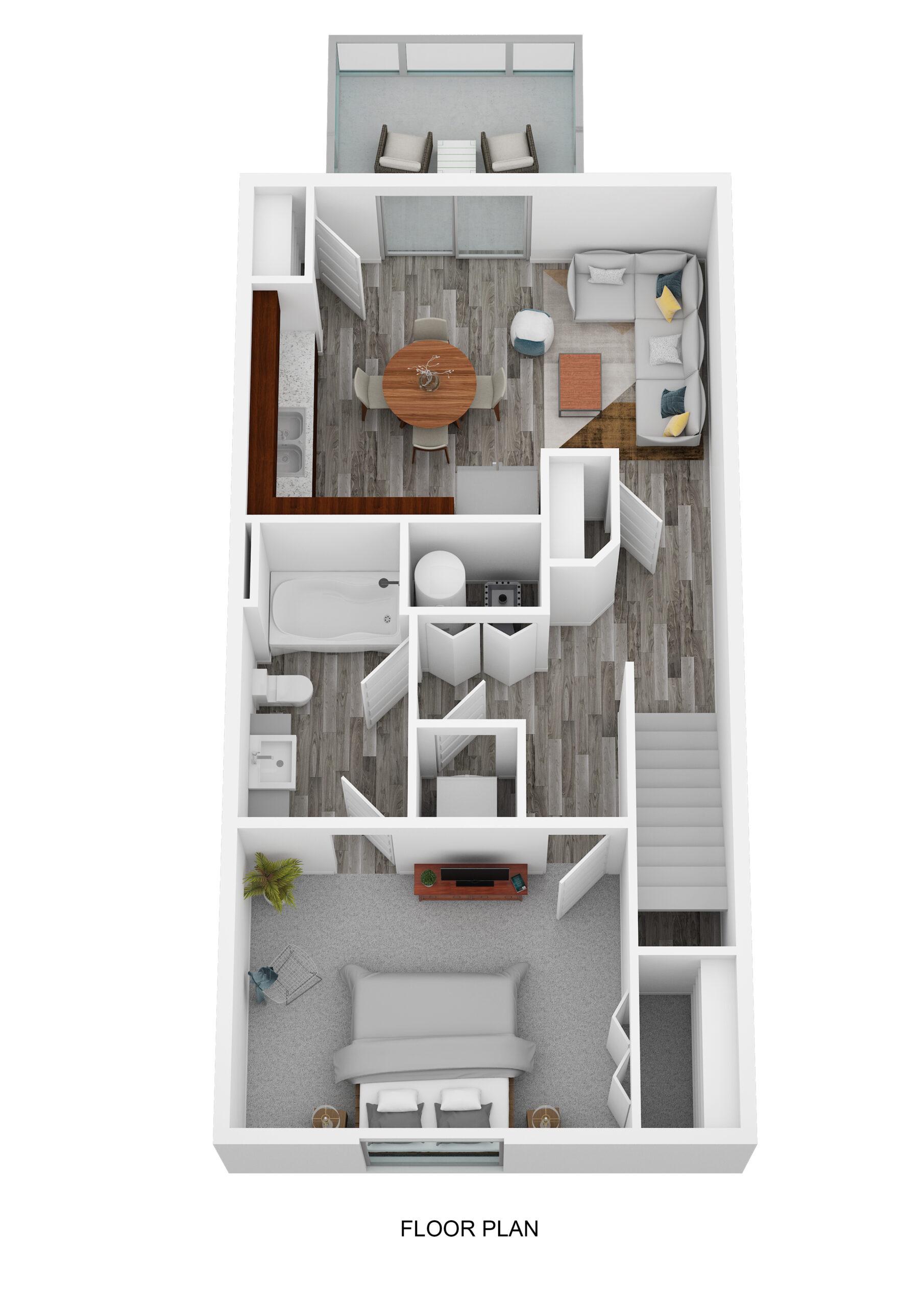 One Bedroom Upper Level No Garage - Phase I