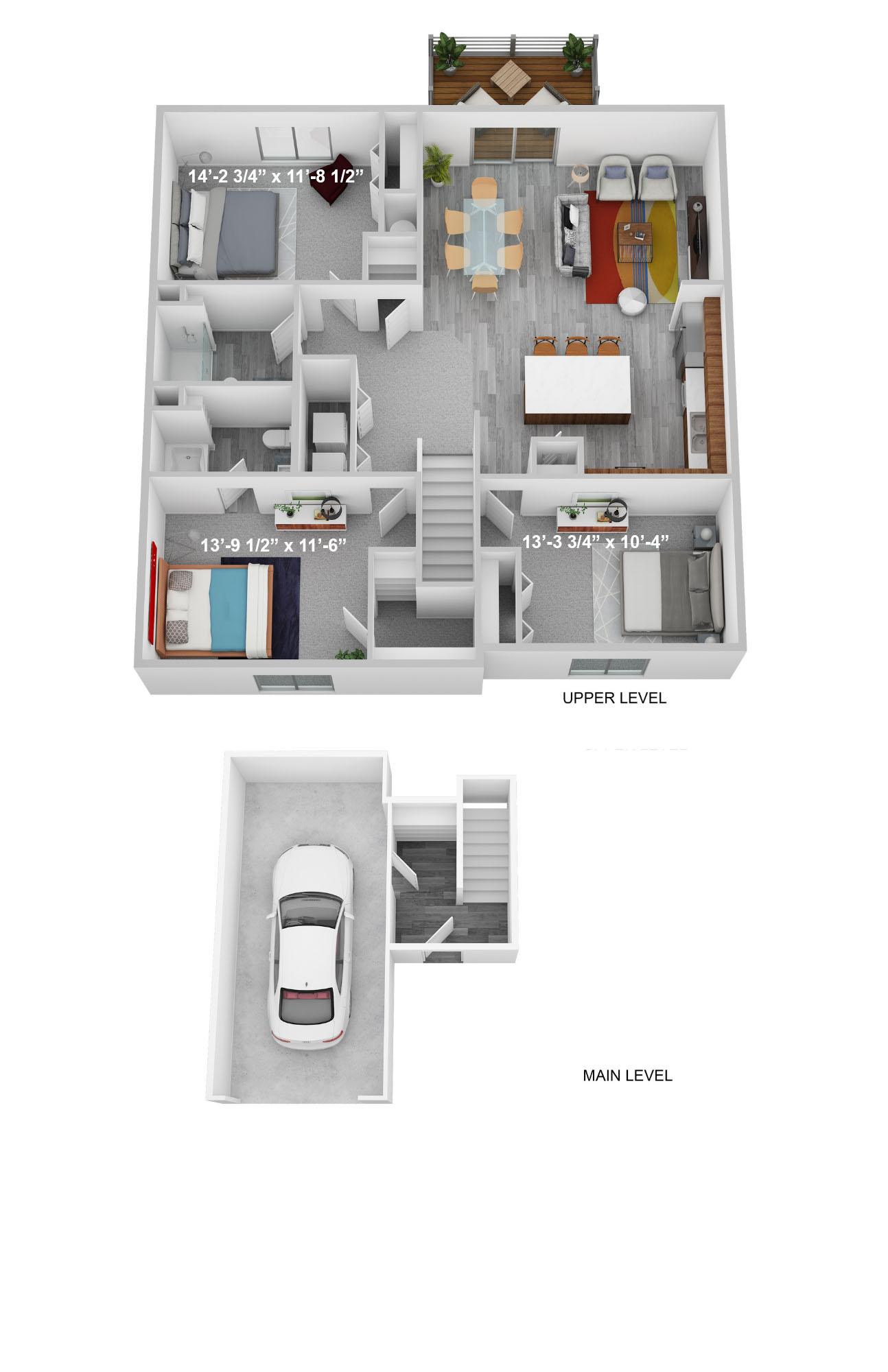 Three Bedroom Upper Level - Phase II